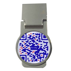 Digital Computer Graphic Qr Code Is Encrypted With The Inscription Money Clips (round)