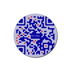 Digital Computer Graphic Qr Code Is Encrypted With The Inscription Rubber Round Coaster (4 Pack)