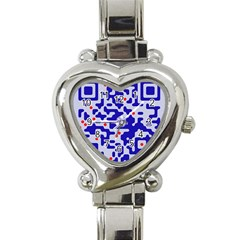Digital Computer Graphic Qr Code Is Encrypted With The Inscription Heart Italian Charm Watch