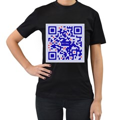 Digital Computer Graphic Qr Code Is Encrypted With The Inscription Women s T Shirt (black) (two Sided)