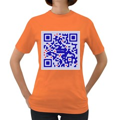 Digital Computer Graphic Qr Code Is Encrypted With The Inscription Women s Dark T Shirt