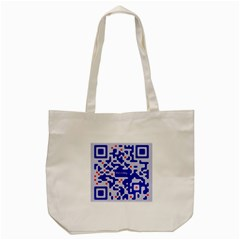 Digital Computer Graphic Qr Code Is Encrypted With The Inscription Tote Bag (Cream)