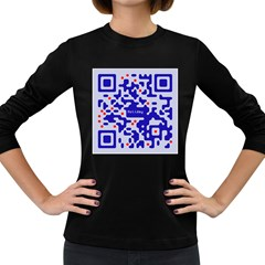 Digital Computer Graphic Qr Code Is Encrypted With The Inscription Women s Long Sleeve Dark T Shirts