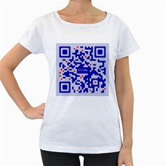 Digital Computer Graphic Qr Code Is Encrypted With The Inscription Women s Loose Fit T Shirt (white)