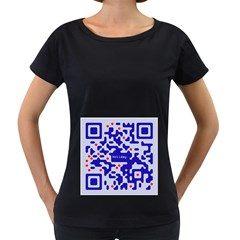 Digital Computer Graphic Qr Code Is Encrypted With The Inscription Women s Loose Fit T Shirt (black)