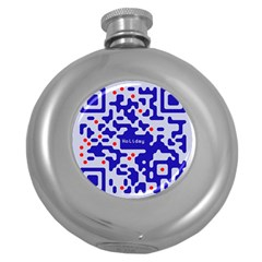 Digital Computer Graphic Qr Code Is Encrypted With The Inscription Round Hip Flask (5 Oz)