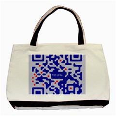 Digital Computer Graphic Qr Code Is Encrypted With The Inscription Basic Tote Bag (two Sides)