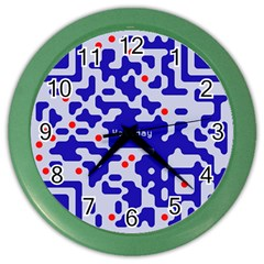 Digital Computer Graphic Qr Code Is Encrypted With The Inscription Color Wall Clocks