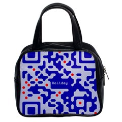 Digital Computer Graphic Qr Code Is Encrypted With The Inscription Classic Handbags (2 Sides)