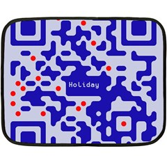 Digital Computer Graphic Qr Code Is Encrypted With The Inscription Double Sided Fleece Blanket (Mini)