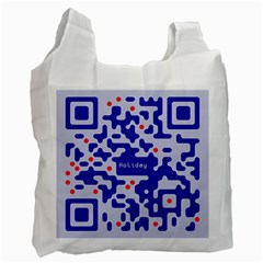 Digital Computer Graphic Qr Code Is Encrypted With The Inscription Recycle Bag (two Side)