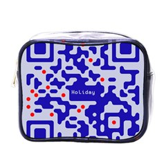 Digital Computer Graphic Qr Code Is Encrypted With The Inscription Mini Toiletries Bags