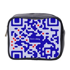 Digital Computer Graphic Qr Code Is Encrypted With The Inscription Mini Toiletries Bag 2 Side
