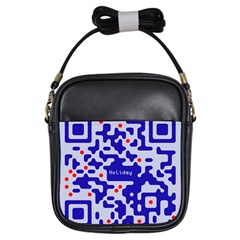 Digital Computer Graphic Qr Code Is Encrypted With The Inscription Girls Sling Bags
