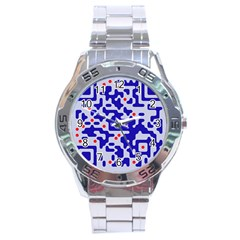 Digital Computer Graphic Qr Code Is Encrypted With The Inscription Stainless Steel Analogue Watch