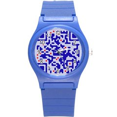 Digital Computer Graphic Qr Code Is Encrypted With The Inscription Round Plastic Sport Watch (s)