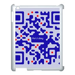 Digital Computer Graphic Qr Code Is Encrypted With The Inscription Apple iPad 3/4 Case (White)
