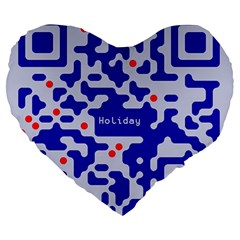 Digital Computer Graphic Qr Code Is Encrypted With The Inscription Large 19  Premium Heart Shape Cushions