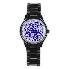 Digital Computer Graphic Qr Code Is Encrypted With The Inscription Stainless Steel Round Watch