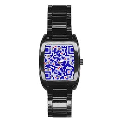 Digital Computer Graphic Qr Code Is Encrypted With The Inscription Stainless Steel Barrel Watch