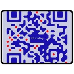 Digital Computer Graphic Qr Code Is Encrypted With The Inscription Double Sided Fleece Blanket (large)