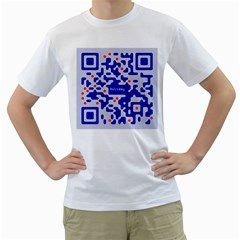Digital Computer Graphic Qr Code Is Encrypted With The Inscription Men s T Shirt (white)