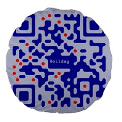 Digital Computer Graphic Qr Code Is Encrypted With The Inscription Large 18  Premium Flano Round Cushions