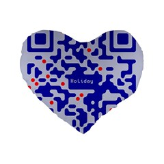 Digital Computer Graphic Qr Code Is Encrypted With The Inscription Standard 16  Premium Flano Heart Shape Cushions