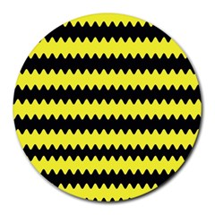 Yellow Black Chevron Wave Round Mousepads