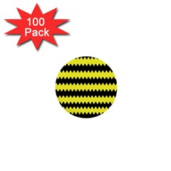 Yellow Black Chevron Wave 1  Mini Buttons (100 pack)