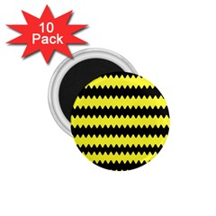 Yellow Black Chevron Wave 1 75  Magnets (10 Pack)