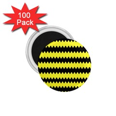Yellow Black Chevron Wave 1 75  Magnets (100 Pack)