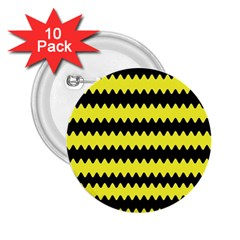 Yellow Black Chevron Wave 2 25  Buttons (10 Pack)