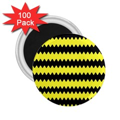 Yellow Black Chevron Wave 2 25  Magnets (100 Pack)