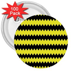 Yellow Black Chevron Wave 3  Buttons (100 pack)