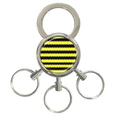 Yellow Black Chevron Wave 3 Ring Key Chains