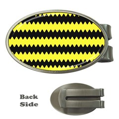 Yellow Black Chevron Wave Money Clips (oval)