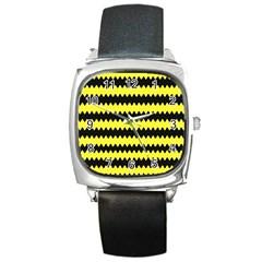 Yellow Black Chevron Wave Square Metal Watch