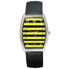 Yellow Black Chevron Wave Barrel Style Metal Watch