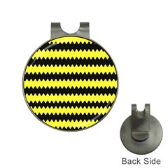 Yellow Black Chevron Wave Hat Clips With Golf Markers