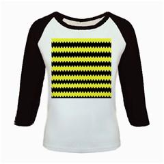 Yellow Black Chevron Wave Kids Baseball Jerseys