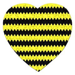 Yellow Black Chevron Wave Jigsaw Puzzle (Heart)