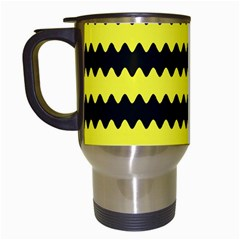 Yellow Black Chevron Wave Travel Mugs (white)