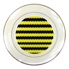 Yellow Black Chevron Wave Porcelain Plates