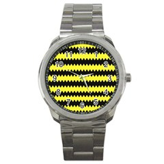 Yellow Black Chevron Wave Sport Metal Watch