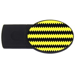 Yellow Black Chevron Wave Usb Flash Drive Oval (4 Gb)