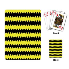 Yellow Black Chevron Wave Playing Card