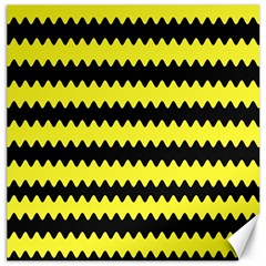 Yellow Black Chevron Wave Canvas 16  x 16