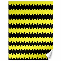 Yellow Black Chevron Wave Canvas 36  X 48