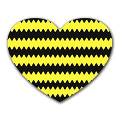 Yellow Black Chevron Wave Heart Mousepads